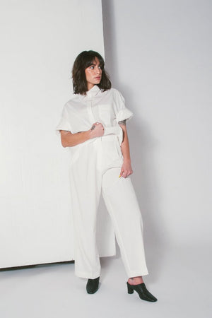 WIDE LEG TAILORED TROUSER IVORY