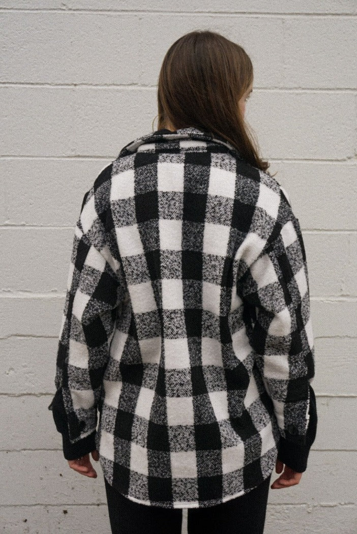dylan black and white buffalo check plaid button up shirt | pipe and row
