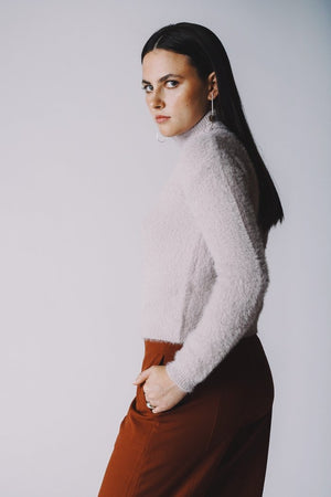 Francesca lilac textured fuzzy turtleneck sweater | PIPE AND ROW Boutique Seattle