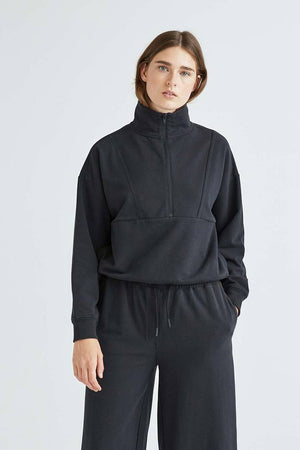 TERRY MOCKNECK SWEATSHIRT BLACK