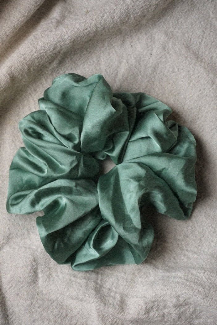 Silky oversized silky sage green satin scrunchy PIPE AND ROW | Pipe and Row