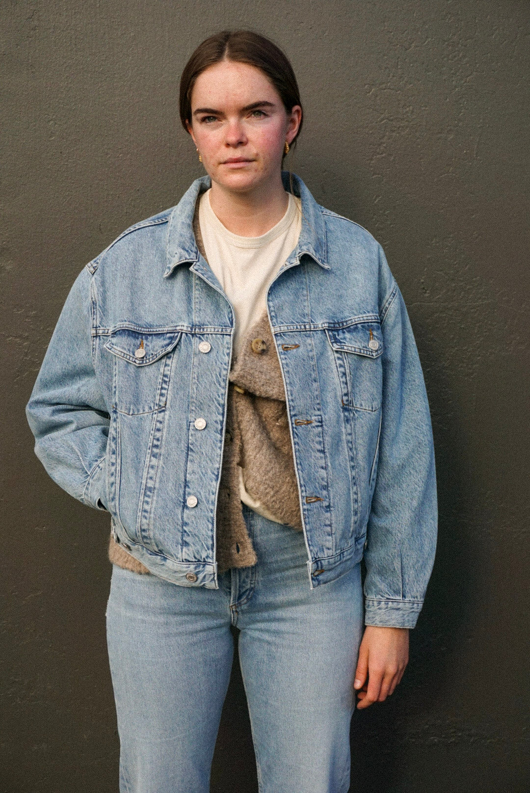 Agolde Charli oversized denim jacket light vintage indigo Billboard wash | pipe and row