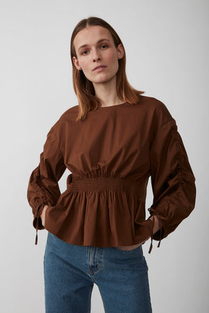 Just Female Brenda blouse emperador brown | pipe and row boutique seattle