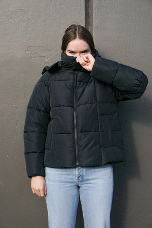 Just Female black Aspen short puffer jacket high collar hooded | pipe and row