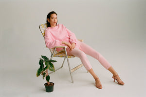 Agolde Balloon sleeve cropped jersey sweatshirt bubble gum pink color blocked | pipe and row