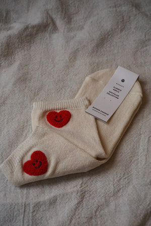 Richer Poorer cream Happy Luv socks with textured heart | Pipe and Row