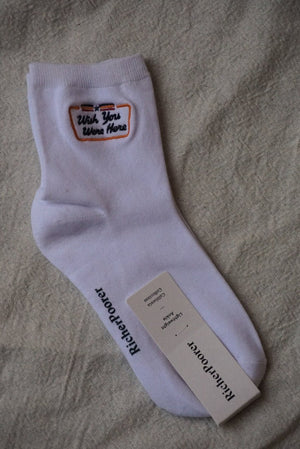 "Richer poorer ""wish you were here"" postcard white ankle socks 