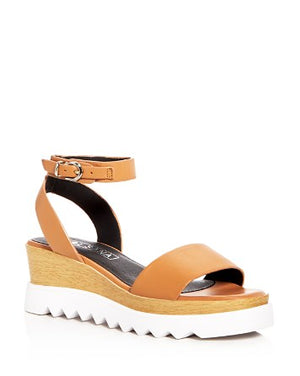 Sol Sana Tray flatform wedge in tan brown leather sandals | PIPE AND ROW