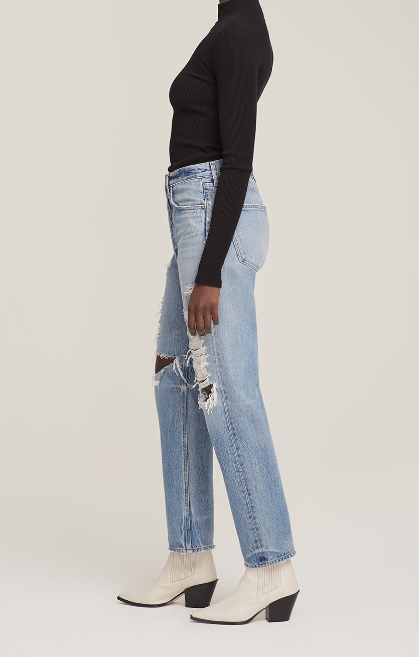 Agolde 90's loose fit jeans major vintage distressed indigo denim | Pipe and Row