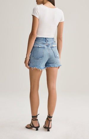 Agolde Ricochet Dee super high rise shorts salty blonde | pipe and row