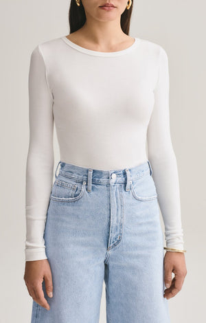 Agolde Leila long sleeve bodysuit close crew neck rib | Pipe and row