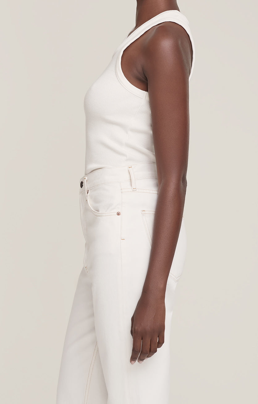 Agolde Poppy scoop rib tank tissue white | pipe and row boutique Seattle
