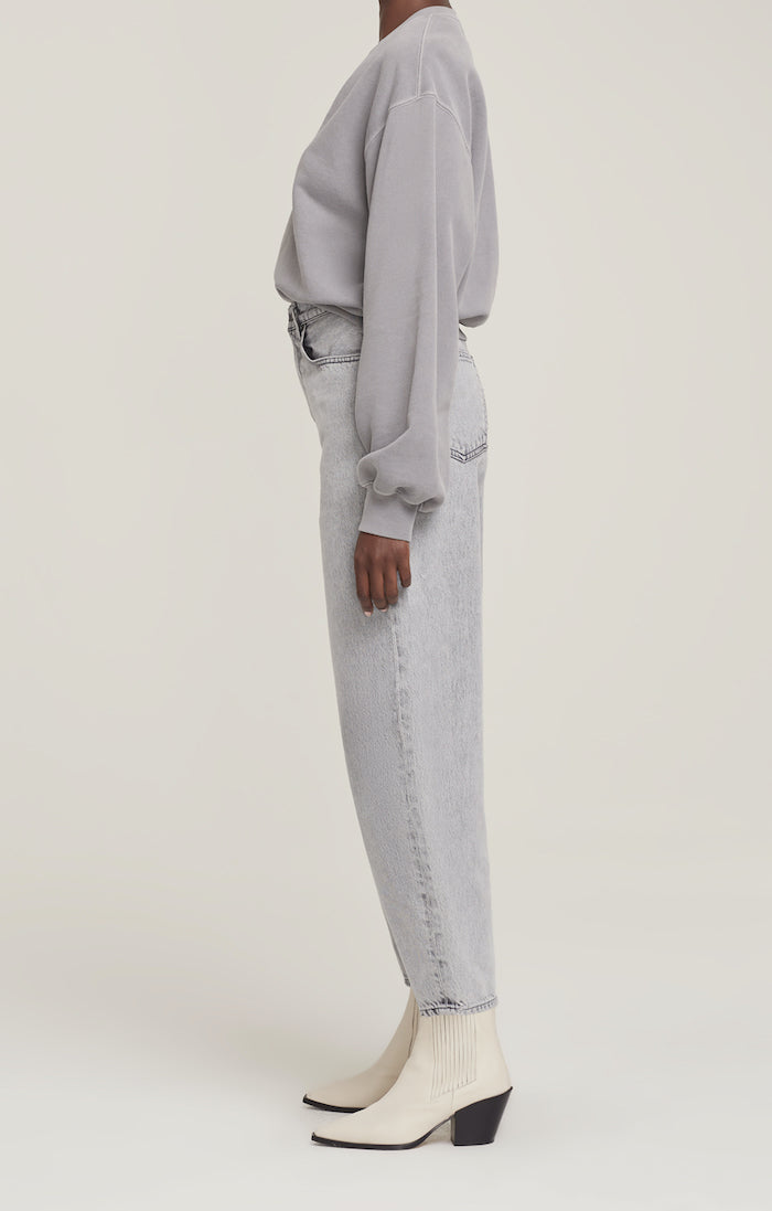 Agolde signature Balloon Sleeve Sweatshirt deep V neckline oversized fit zinc grey | Pipe and Row