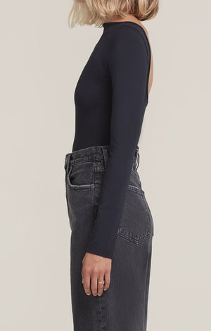 Agolde Sylvie square back long sleeve bodysuit black | pipe and row