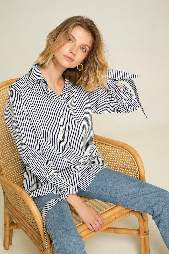 Rue Stiic Kansas button-up shirt with navy vertical stripes | Pipe and row