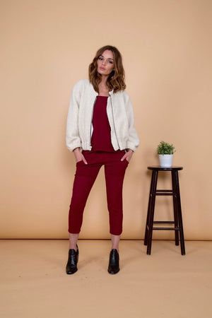AMELIA VEGAN CREAM SHEARLING JACKET