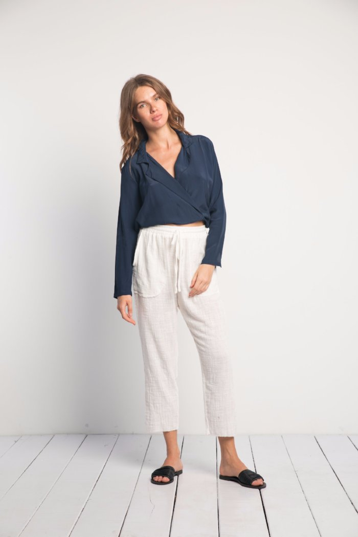 Rue Stiic's wrap Ames Top midnight navy | Pipe and Row Fremont Boutique Shopping
