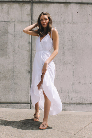 Andalusia wrap maxi dress summer white swiss dot rue stiic | pipe and row seattle