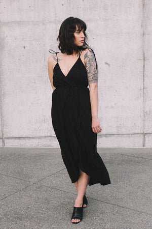 Andalusia wrap dress black swiss dot rue stiic | pipe and row seattle