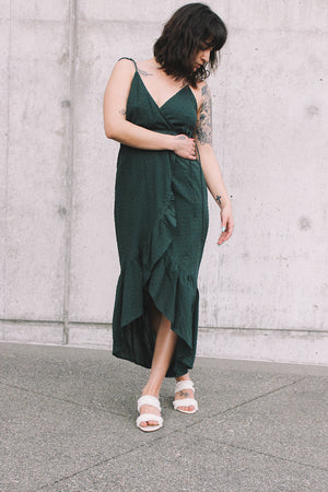 Andalusia wrap dress evergreen swiss dot rue stiic | pipe and row seattle