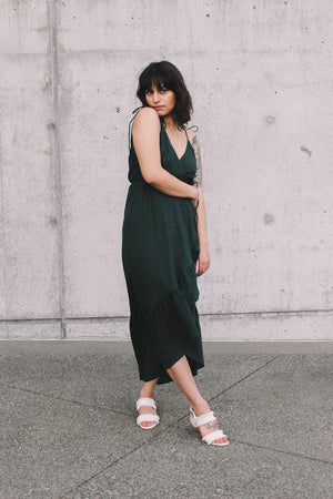 Andalusia wrap dress dark green swiss dot rue stiic | pipe and row seattle