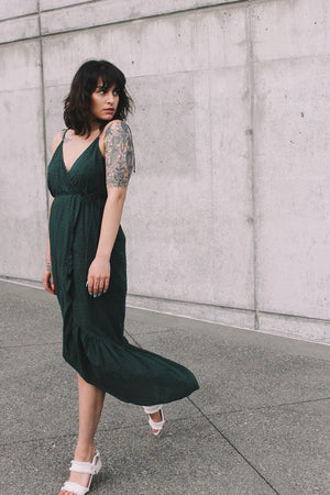 Andalusia wrap maxi dress dark green swiss dot rue stiic | pipe and row seattle