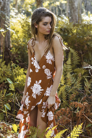 RUE STIIC ANDALUSIA DRESS TERRACOTTA FLORAL | PIPE AND ROW