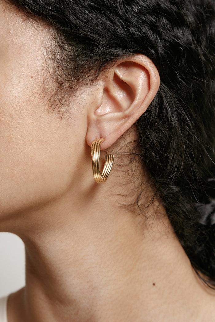 Wolf Circus Ariana textured hoops recycled gold | Pipe and Row boutique Seattle