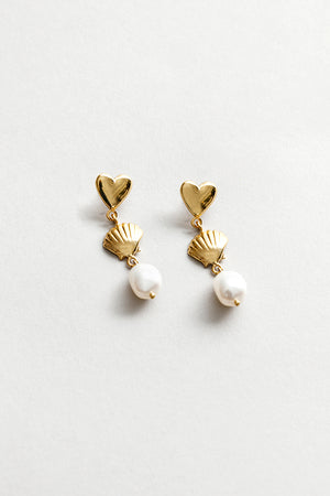 Wolf Circus Ariel drop earrings heart, shell fresh water pearl | Pipe and Row