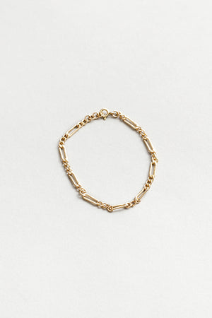 Wolf Circus jewelry Mila thin gold figaro chain bracelet recycled | Pipe and Row