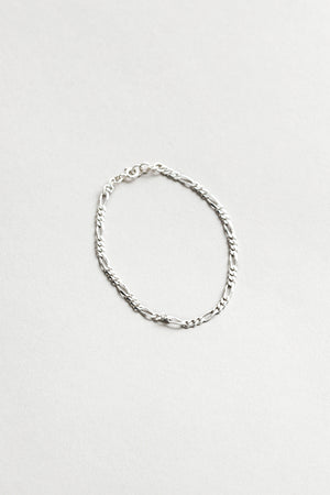 Wolf Circus jewelry Mila thin sterling silver figaro chain bracelet recycled | Pipe and Row