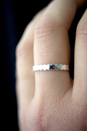 Thick bead stacking ring sterling silver | pipe and row
