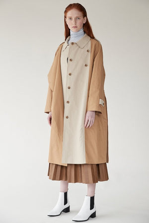 Mijeong Park khaki Bi Color Trench coat | pipe and row