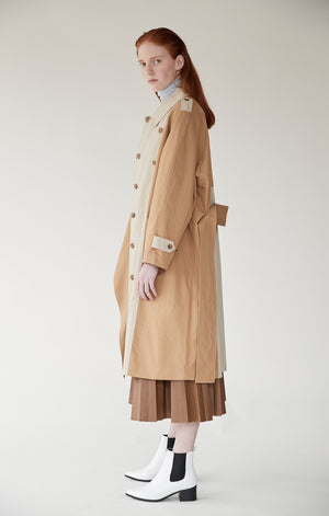 Mijeong Park khaki Bi Color long Trench coat | pipe and row