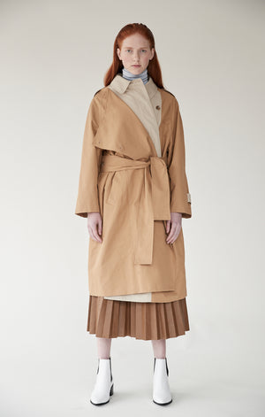 Mijeong Park khaki Bi Color Trench coat double breasted | pipe and row