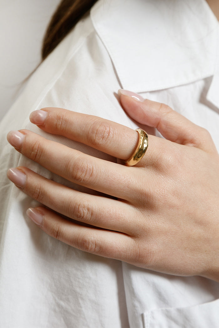 Wolf Circus Blake textured ring gold | Pipe and Row