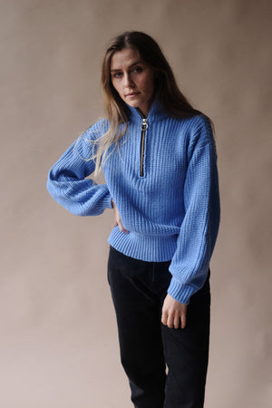 Pipe and Row Just Female Bonnie Half Zip Sweater White Spring 2020