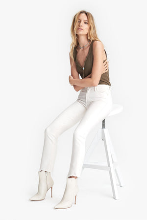 Mother Denim mid rise Rascal crop fray cream puffs wash straight leg | Pipe and Row