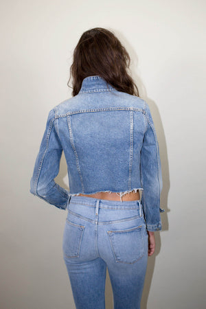 GRLFRND Cara Cropped Denim Jacket in Mary Jane | Pipe and Row Boutique fremont