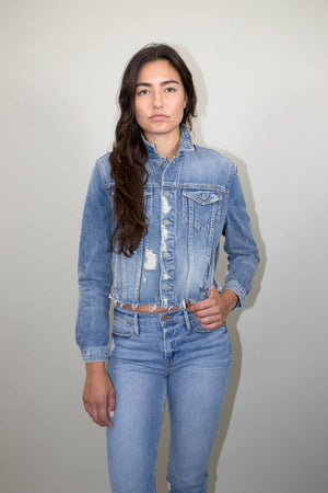 GRLFRND Cara Cropped distressed Denim Jacket in Mary Jane | Pipe and Row Boutique