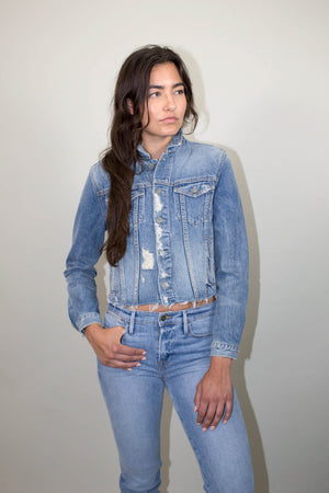 GRLFRND Cara Cropped Denim Jacket in Mary Jane | Pipe and Row Seattle