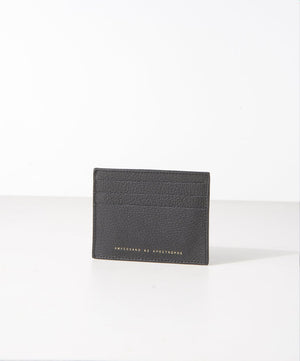 black soft grain leather card wallet ampersand as apostrophe | pipe and row