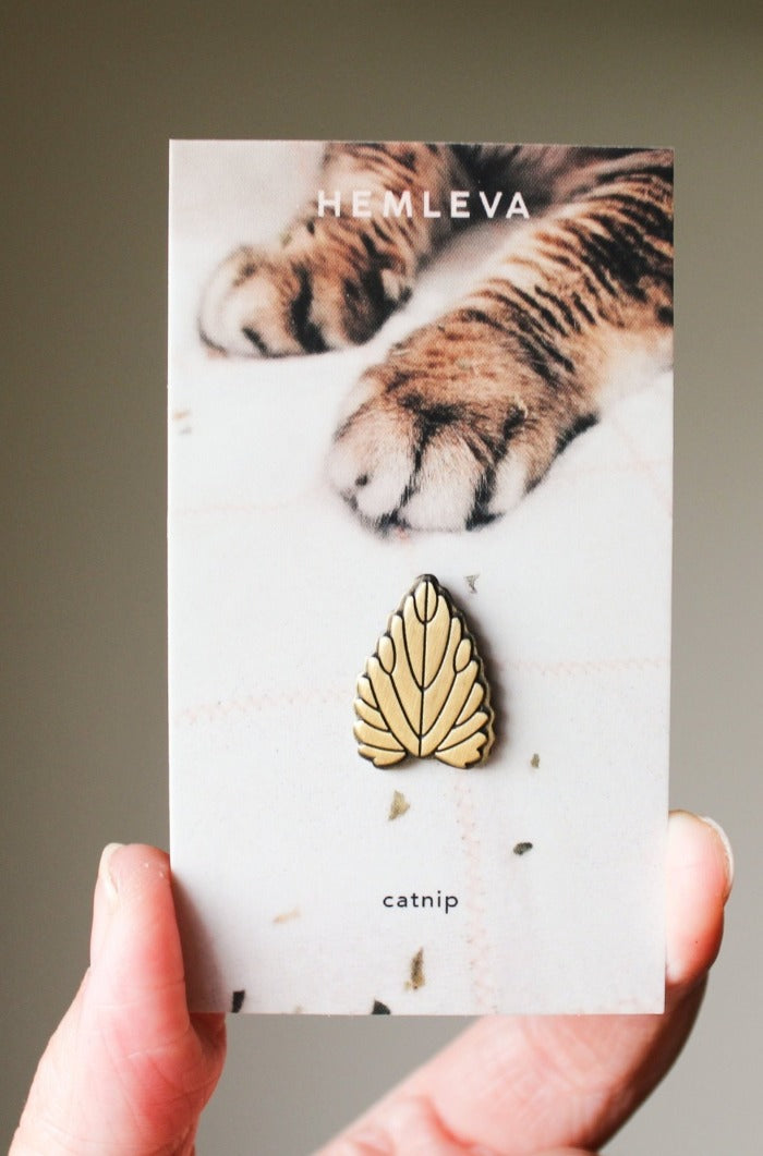 Hemleva Catnip plant gold pin gift cat lady cat lover | Pipe and Row Boutique local Seattle pipeandrow.com