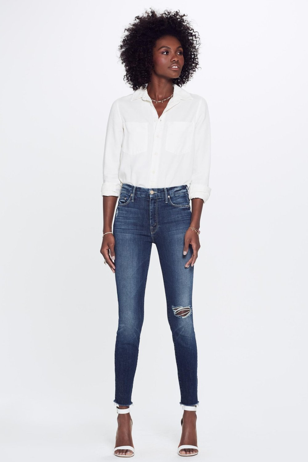 Mother Denim high waisted looker in close to the edge wash | Pipe and Row