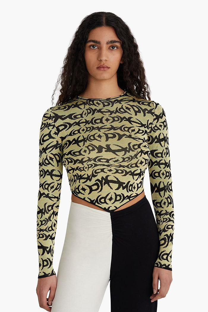 Paloma Wool Cole long sleeve top green black knit | Pipe and Row Seattle