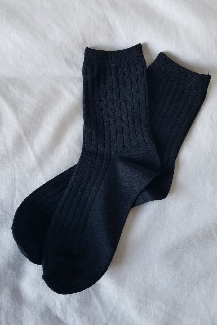 Le Bon Shoppe black Her socks perfect knit rib socks | Pipe and Row