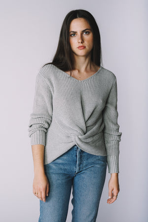 Jojo Twist Sweater grey knit | Pipe and Row Boutique Seattle