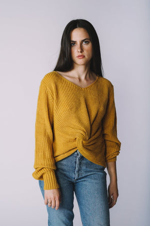Jojo Twist Sweater mustard knit | Pipe and Row Boutique Seattle