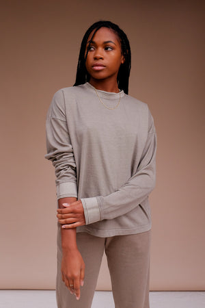 Richer Poorer relaxed thick long sleeve pullover warm grey | Pipe and row