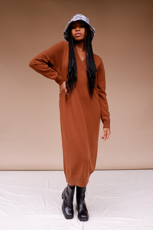 Just Female Zanny knit sweater dress rich emperador camel | pipe and row
